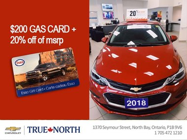 20% off & $200 Gas Card on all in-stock 2018 Chevrolet Cruze!