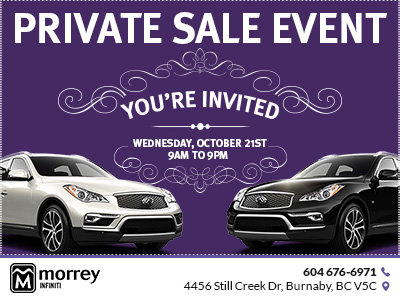 private sale event morrey infiniti of burnaby promotion in burnaby