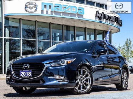 2018  Mazda3 Sport GT   Premium Pkg   Navi   Sunroof   Lthr   Htd Sts