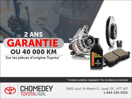 2 ans garantie sur les pièces d'origine Toyota!