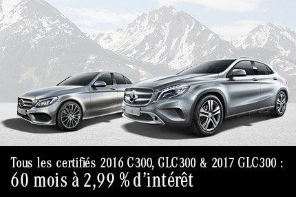 Tous les certifies 2016 C 300, GLC 300 & 2017 GLC 300 Mercedes-Benz