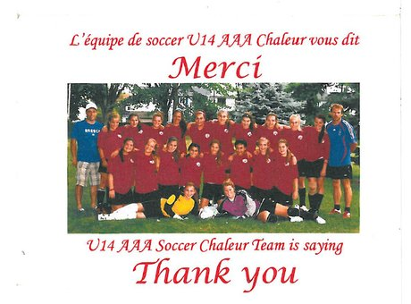 The girls from the U14AAA Soccer team thanks you for your contribution.