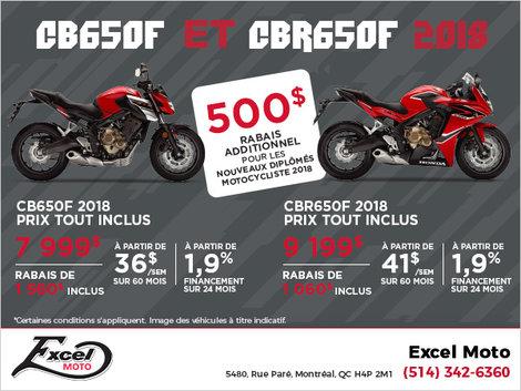 500$ de rabais sur le CB650F & CBR650F!