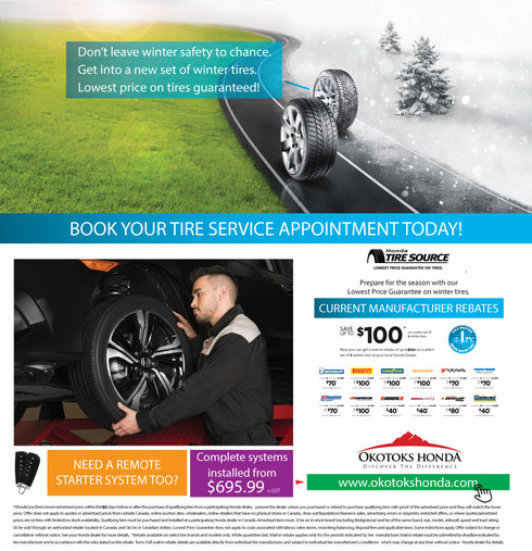 Lowest price on winter tires at Okotoks Honda Service