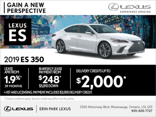 Lease the 2019 Lexus ES 350 today!