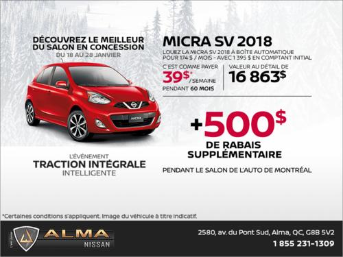 Obtenez le Nissan Micra 2018 dès aujourd'hui!