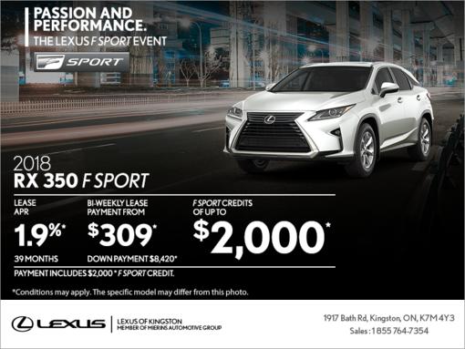 Get the 2018 Lexus RX 350 today!