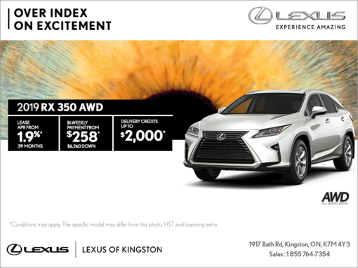 Get the 2019 Lexus RX 350 today!