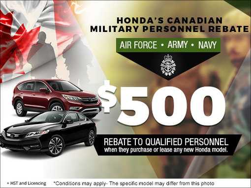 Take advantage of Orléans Honda's CANADIAN MILITARY PERSONNEL REBATE