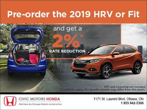 Get a 2% Rate Reduction on the HR-V or Fit