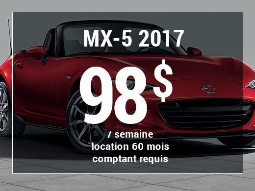 Roulez en Mazda MX-5 2017 à partir de 98$/sem. chez Prestige Mazda à Shawinigan