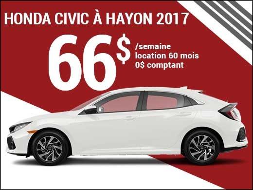 Seulement 66$ par semaine pour louer la Honda Civic à hayon 2017 chez Avantage Honda à Shawinigan