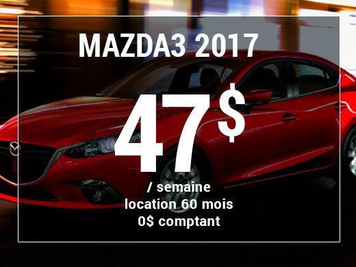 Roulez en Mazda3 2017 à partir de 47$ / semaine chez Prestige Mazda à Shawinigan