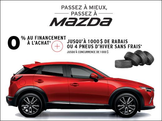 0% financement à l'achat + 1000$ de rabais ou 4 pneus d'hiver sans frais! chez Prestige Mazda à Shawinigan
