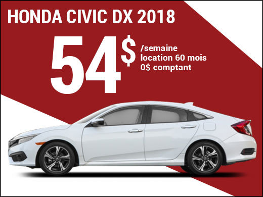 La Honda Civic 2018 pour 54$ par semaine chez Avantage Honda à Shawinigan