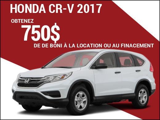Découvrez le Honda CR-V 2017 grâce au boni de 750$! chez Avantage Honda à Shawinigan