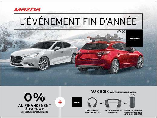C'est l'événement fin d'année avec BOSE chez Prestige Mazda! chez Prestige Mazda à Shawinigan