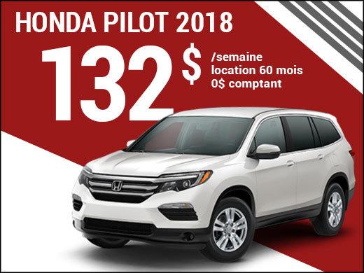 Le Honda Pilot 2018 à 132$ par semaine chez Avantage Honda à Shawinigan