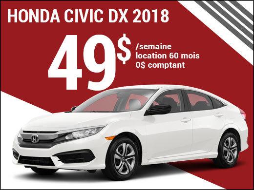 La Honda Civic 2018 pour 49$ par semaine chez Avantage Honda à Shawinigan