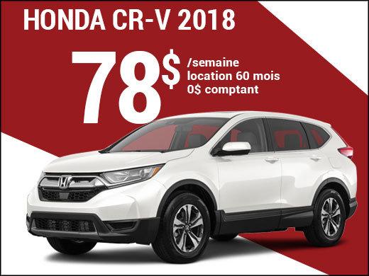 Découvrez le Honda CR-V 2018 pour 78$ par semaine chez Avantage Honda à Shawinigan