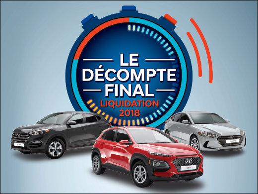 FAITES VITE! C'est LE DÉCOMPTE FINAL Liquidation 2018 chez Hyundai Shawinigan à Shawinigan