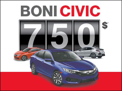 Boni de 750$ sur la Honda Civic chez Avantage Honda à Shawinigan