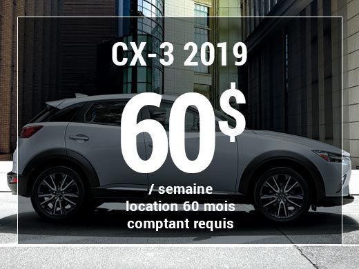 Roulez en Mazda CX-3 2019 à partir de 60$/sem chez Prestige Mazda à Shawinigan
