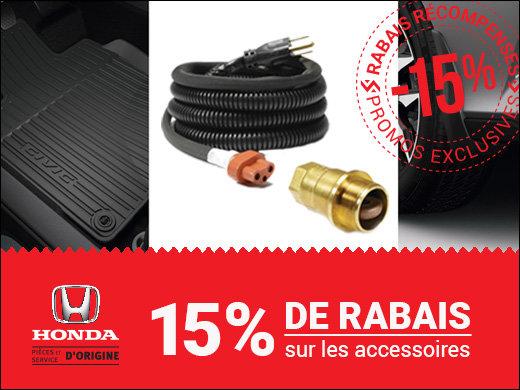 15% de RABAIS sur les accessoires HONDA chez Groupe Vincent à Shawinigan et Trois-Rivières