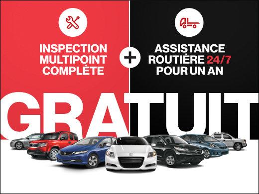 GRATUIT : Inspection multipoint + 1 an d'assistance routière chez Avantage Honda à Shawinigan