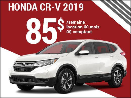 Découvrez le Honda CR-V 2019 pour 85$ par semaine chez Avantage Honda à Shawinigan