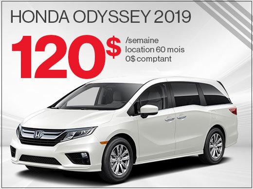 120$ par semaine pour louer la Honda Odyssey 2019 chez Avantage Honda à Shawinigan