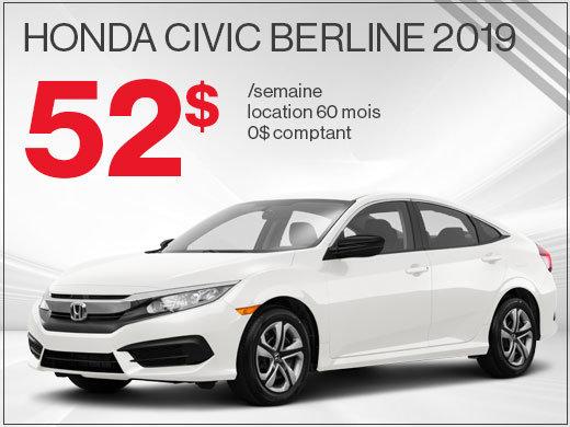 La Honda Civic 2019 pour 52$ par semaine chez Avantage Honda à Shawinigan