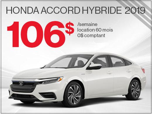 106$ par semaine pour la Honda Accord HYBRIDE 2019 chez Avantage Honda à Shawinigan