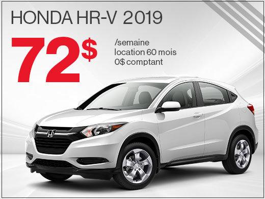 72$ par semaine pour rouler en Honda HR-V 2019 chez Avantage Honda à Shawinigan