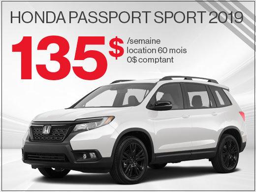 Place à l'aventure pour seulement 135$ par mois avec le tout NOUVEAU Passport 2019! chez Avantage Honda à Shawinigan