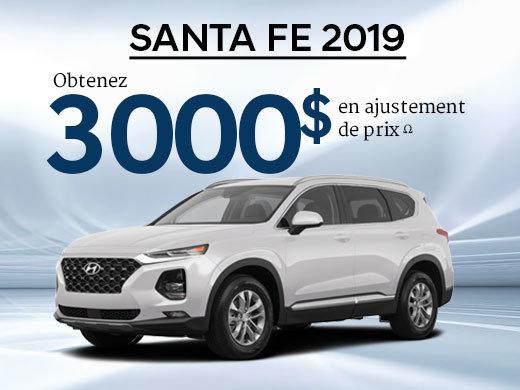 3 000$ en ajustement de prix pour le Santa Fe 2.4L Essential 2019 chez Hyundai Shawinigan à Shawinigan