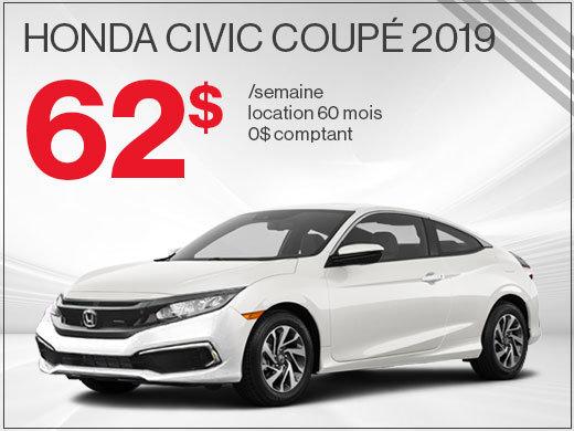 La Honda Civic Coupé 2019 pour 62$ par semaine chez Avantage Honda à Shawinigan