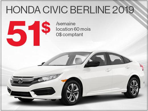 La Honda Civic 2019 pour 51$ par semaine chez Avantage Honda à Shawinigan