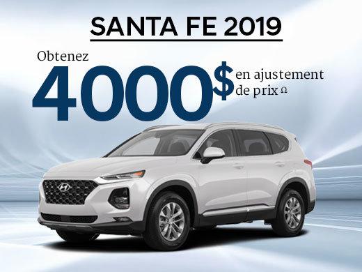 4 000$ en ajustement de prix pour le Santa Fe 2.4L Essential 2019 chez Hyundai Trois-Rivières à Trois-Rivières