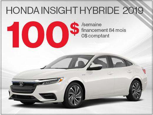 100$ par semaine pour la Honda Insight Hybride 2019 chez Avantage Honda à Shawinigan