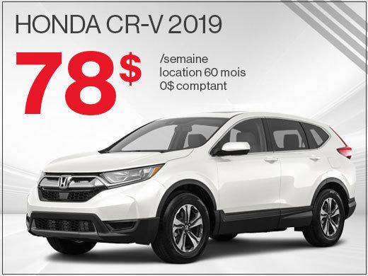 Découvrez le Honda CR-V 2019 pour 78$ par semaine chez Avantage Honda à Shawinigan