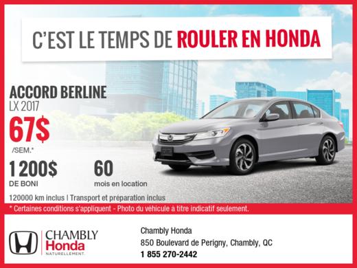 Honda Accord 2017 en location