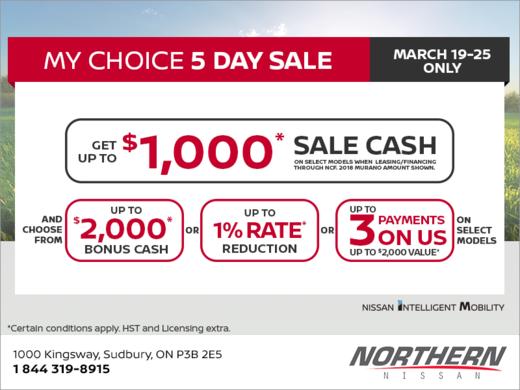 Nissan's My Choice 5-Day Sale!