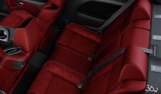 Black & Ruby Red Vented Alcantara Leather (SLXC)
