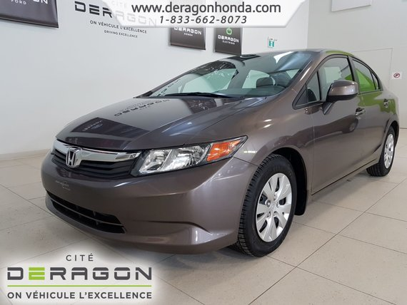 Honda Civic Sedan LX+AIR CLIMATISE+SEULEMENT 40,569 KILO+BLUETOOTH 2012
