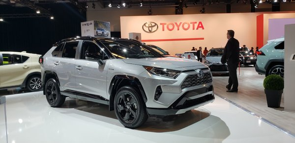 The Toyota Hybrid vehicle lineup at the Montreal Auto Show