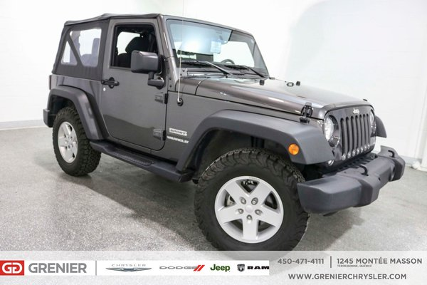 used 2017 jeep wrangler 2 door pneus 39 39 off road 39 39 a c 13 000km charcoal 13 757 km for sale. Black Bedroom Furniture Sets. Home Design Ideas
