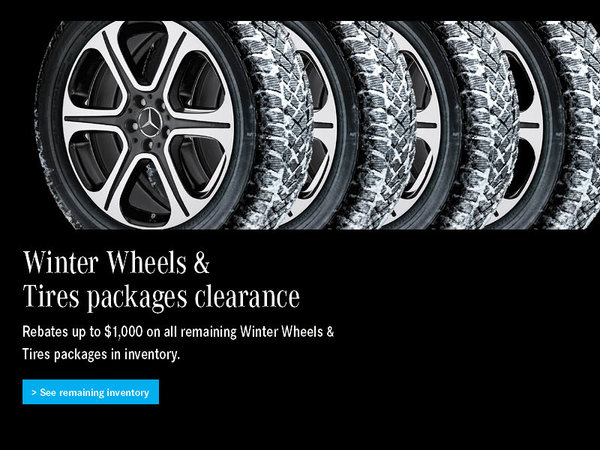Up to $1,000 rebate on all remaining Winter tires & wheels packages