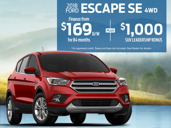 Finance the 2018 Ford Escape SE for $169 Bi-Weekly