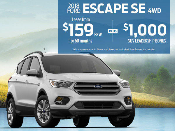 Lease the 2018 Ford Escape SE for $159 Bi-Weekly